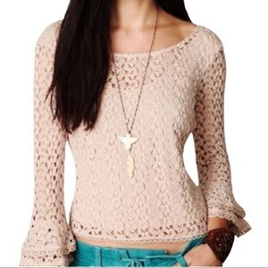 FREE PEOPLE Fully Lined Crochet Top, Bell Sleeves Size L